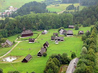 Open-air museum - An aerial photograph of the open-air museum at Stará Ľubovňa, Slovakia