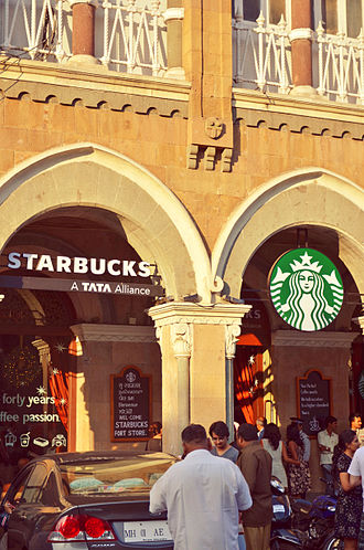 Tata Starbucks - India's first Starbucks outlet in Elphinstone Building, Horniman Circle, Mumbai.
