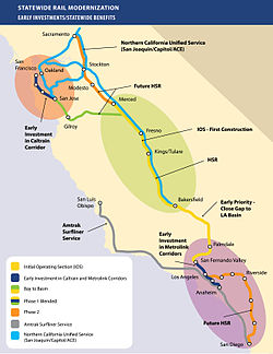 "A map detailing California high-speed rail's ""bookend projects"", or projects at the tail end of high-speed rail route to improve public transportation and access to high-speed rail stations."