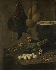 Nature morte au poulet et œufs