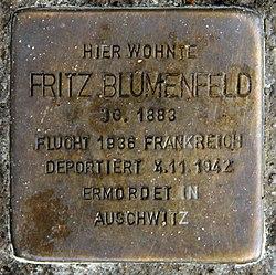 Photo of Fritz Blumenfeld brass plaque