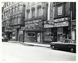 Playland Café - Essex Street in the 1960s. City of Boston Archives