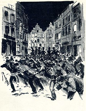 Anti-union violence - Depiction of the 1902 Belgium general strike, by Henri Meurnier