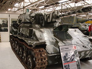 SU-76 - Soviet SU-76M in Bovington tank museum, Dorset.