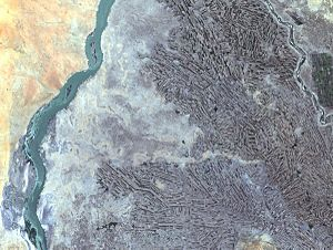 Geography of Sudan - Farming along White and Blue Nile Rivers, near Khartoum, Sudan.