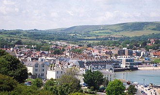Isle of Purbeck - Swanage, the main town and resort of Purbeck, with the Purbeck Hills in the background.