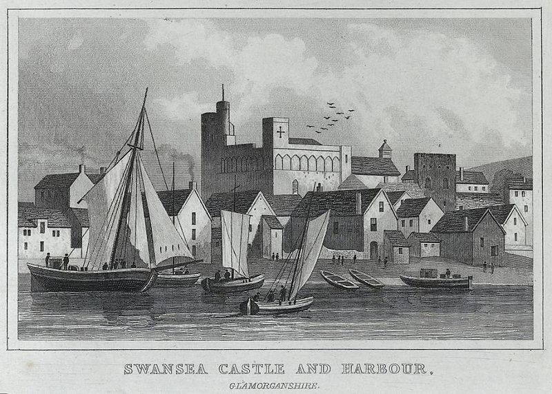 Delwedd:Swansea castle and harbour, Glamorganshire (1132910).jpg