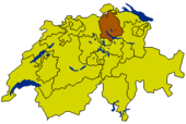 Map of Switzerland highlighting the Canton of Zurich