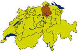 Map of Switzerland, location of Zurich highlighted