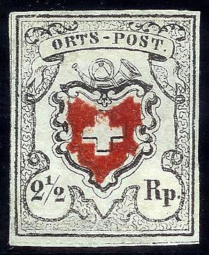 Local mail and rayon stamps of Switzerland - Image: Swiss Post local mail stamp 1850