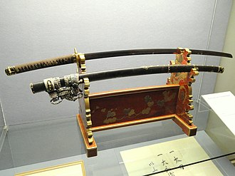 Sword given to Siebold by Tokugawa Iemochi on November 11, 1861, on display at the State Museum of Ethnology in Munich Sword given to Philipp Franz von Siebold by Tokugawa Iemochi on 11 Nov 1861 - Staatlichen Museums fur Volkerkunde Munchen - DSC08358.JPG