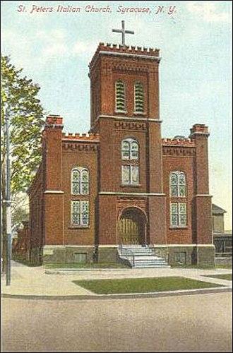 St. Peter's Italian Church (Syracuse, New York) - St. Peter's Italian Catholic Church at 130 North State Street, c.1910
