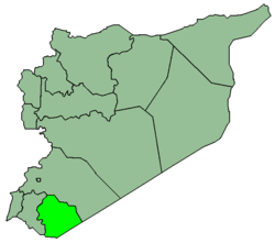 Map of Syria with Sueida highlighted.