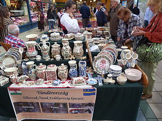 Folk art - Taditional styles of faience pottery from Székely Land, Romania, on sale in Budapest in 2014. A conventional idea of folk art, though no doubt made in quasi-industrial conditions.
