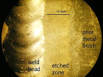 Gas tungsten arc welding - A TIG weld showing an accentuated AC etched zone