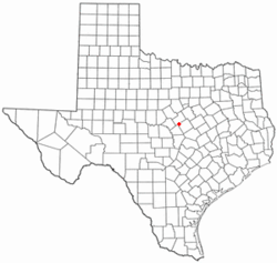 Location of Evant, Texas