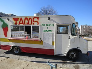Taco trucks on every corner - A taco truck in the downtown area of St. Louis, Missouri
