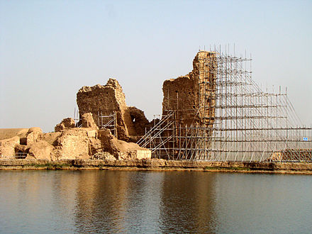 Ruins of Adur Gushnasp, one of three main Zoroastrian temples in the Sassanian Empire Takhte Soleyman.jpg
