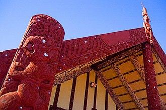 Māori culture - Wharenui or big house, Ohinemutu village, Rotorua (tekoteko on the top)