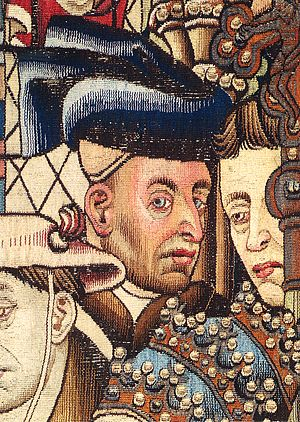 The Justice of Trajan and Herkinbald - A detail, believed to be a portrait of van der Weyden, from The Justice of Trajan and Herkinbald tapestry, dating from around 1450, in the Historical Museum of Bern.