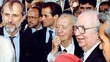 Taviani con Renzo Piano e Giovanni Spadolini all'apertura delle celebrazioni colombiane, Porto di Genova, 15 maggio 1992.