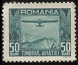 Aviation in Romania - Image: Tax Stamp Romania 1931Michel 12