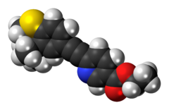 Space-filling model of the tazarotene molecule