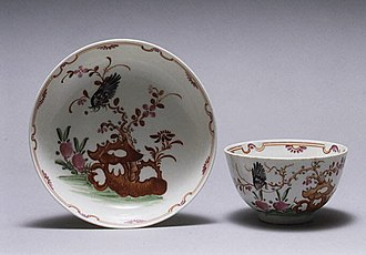 """Lowestoft Porcelain Factory - Teabowl and saucer, c. 1770, with a version of the """"Redgrave"""" pattern."""