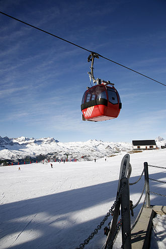 Aerial lift - 8-passenger gondola lift in Panticosa Ski Resort, Spain.