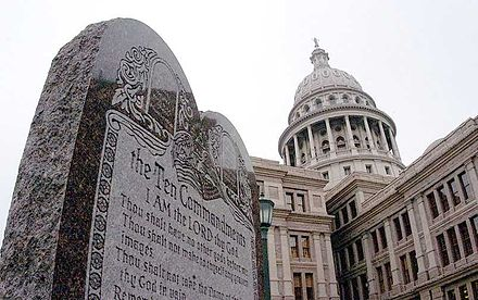 Ten Commandments display at the Texas State Capitol in Austin TenCommandmentsAustinStateCapitol.jpg