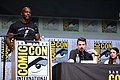 Terry Crews, Adam Wingard & Margaret Qualley (35748092920).jpg