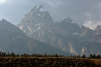 Mount Owen (Wyoming) - Grand Teton at center and Mount Owen at right as seen from Jackson Hole