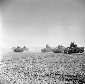 2nd Armoured Brigade (United Kingdom) - Sherman tanks of 'C' Squadron, 9th Queen's Royal Lancers, 5 November 1942.