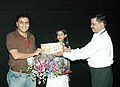 The Director, Rajnesh Domalpalli being greeted at the presentation of the film Vanaja on the occasion of 37th International Film Festival (IFFI-2006) in Panaji, Goa on December 1, 2006.jpg