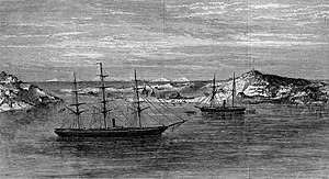 Charles Francis Hall - Polaris (right) and Congress at Godhaven, Disco Island, off the Coast of Greenland, an engraving from Harper's Weekly, May 1873