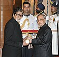 The President, Shri Pranab Mukherjee presenting the Padma Vibhushan Award to Shri Amitabh Bachchan, at a Civil Investiture Ceremony, at Rashtrapati Bhavan, in New Delhi on April 08, 2015.jpg