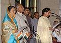 The President, Smt. Pratibha Devisingh Patil administering the oath as Minister of State to Smt. Preneet Kaur, at a Swearing-in Ceremony, at Rashtrapati Bhavan, in New Delhi on May 28, 2009.jpg