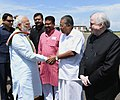 The Prime Minister, Shri Narendra Modi being seen off by the Governor of Kerala, Justice (Retd.) Shri P. Sathasivam and the Chief Minister of Kerala, Shri Pinarayi Vijayan, on his departure from Kochi Airport, Kerala (1).jpg
