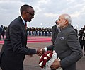The Prime Minister, Shri Narendra Modi being welcomed by the President of Rwanda, Mr. Paul Kagame, at Kigali International Airport, Rwanda on July 23, 2018.JPG