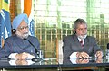 The Prime Minister Dr. Manmohan Singh making a joint press statement along with the President of Brazil Mr. Luiz Inacio Lula da Silva, after signing of agreements at the Alvorada Palace, in Brasilia, Brazil,.jpg