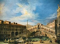 The Rialto Bridge from the South - Giovanni Antonio Canal, il Canaletto - Wells-Next-The-Sea, The Earl of Leicester and Trustees of the Holkham Estate.jpg