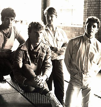 Australian indie rock - The Seven Ballerinas, February 1982; from left to right, Mario Spina, John Smethurst, Michael Palmer, and John Hippocrates.