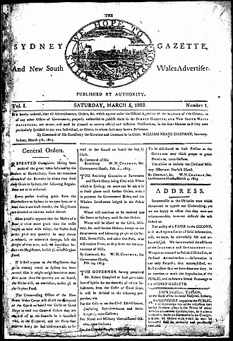 Sydney Gazette - The first issue of the Sydney Gazette and New South Wales Advertiser, 5 March 1803.