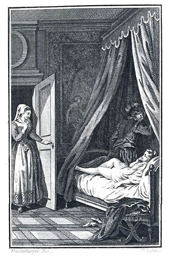 Heptaméron - The Gentleman's Spur catching in the Sheet. Illustration from an 1894 edition of The Tales of the Heptameron.