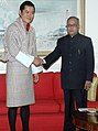 The Union Finance Minister, Shri Pranab Mukherjee meeting the King of Bhutan, HM Jigme Khesar Namgyel Wangchuck, in New Delhi on December 23, 2009.jpg
