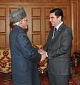 The Vice President, Shri Mohd. Hamid Ansari meeting the President of Turkmenistan, Mr. Gurbanguly Berdimuhamedow, at Ashgabat, in Turkmenistan on December 11, 2015.jpg