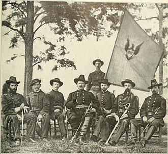 XX Corps (Union Army) - General McCook with the staff at Chickamauga under the Corps banner