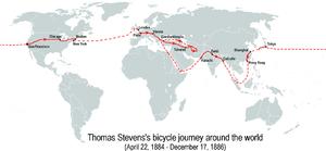 Thomas Stevens (cyclist) - Stevens's bicycle journey around the world (22 April 1884 – 17 December 1886)