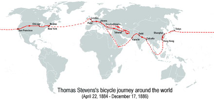 Stevens's bicycle journey around the world (22 April 1884 - 17 December 1886) Thomas-Stevens's-bicycle-journey-EN.png