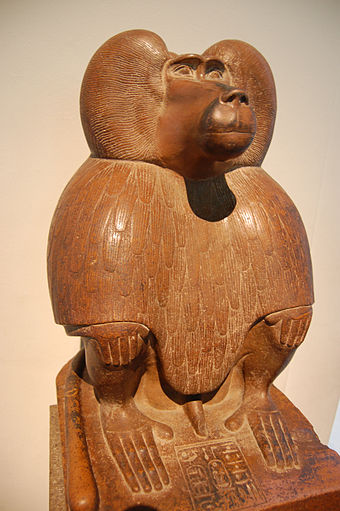 Depiction of Thoth as a baboon (c. 1400 BC), in the British Museum Thoth-baboon-British-Museum.jpg